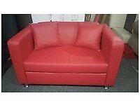 Sofa - Stylish Red Faux leather 2 seater sofa