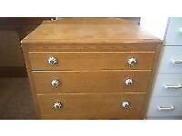 vintage solid oak LEBUS FURNITURE chest of 3 drawers with ceramic knobs