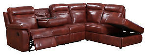 Red Leather Sectional with double reclining chairs