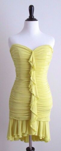 BCBG MAX AZRIA Bright Yellow Sexy Strapless Ruched Mini Dress Sz XS