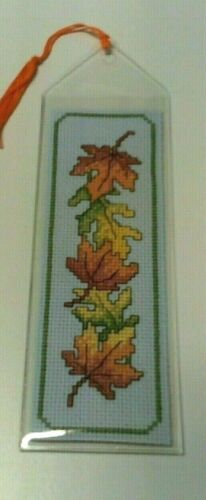 Cross Stitch Bookmark  Autumn Leaves Completed/finished