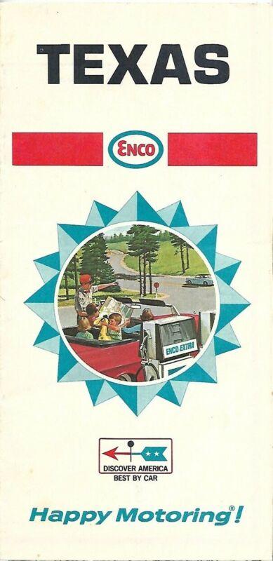 1968 ENCO HUMBLE OIL Road Map TEXAS San Antonio World