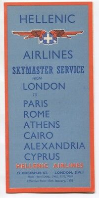 HELLENIC AIRLINES TIMETABLE JANUARY 1951 DC-4 SKYMASTER GREECE CAIRO CYPRUS