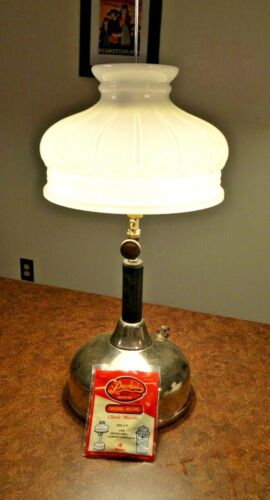Coleman Table Lamp Milk Glass Shade 10""