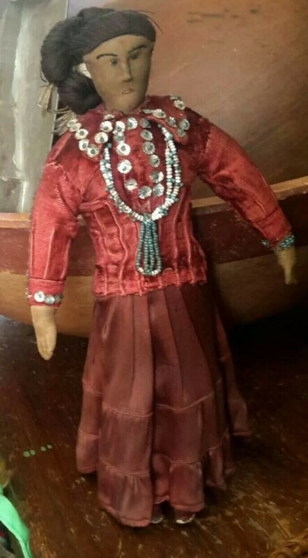 """Antique Doll Cloth Native American Hand Made Torquoise Beads 1890s/1900 12"""""""