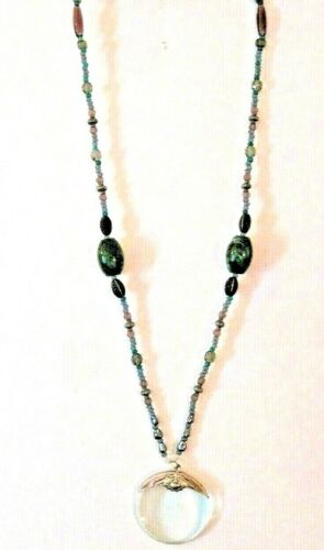 """Rare Vintage Multiple Colored Beaded Necklace With Magnifying Glass 34"""" Long"""