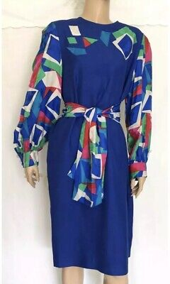 ANNE CRIMMINS for UMI COLLECTIONS Vintage Geometric Print Silk Dress Size 14