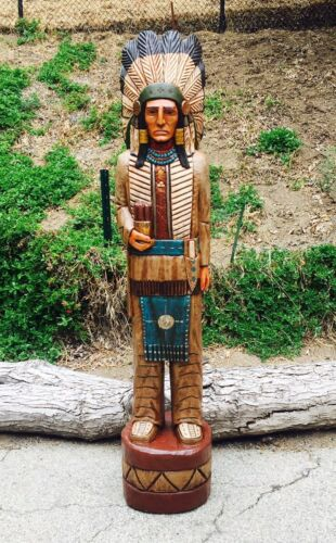 John Gallagher Carved Wooden Cigar Store Indian 7 ft. Statue Story Board