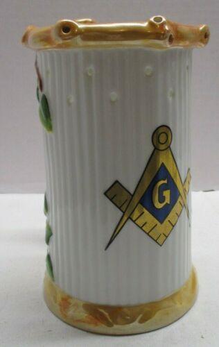 Puzzle Mug Beer Stein with Masonic Logo w/ Lithophane  Nude Girl on Flower