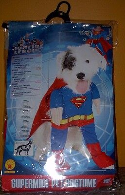Superman Dog Costume M Medium Jumpsuit w/ Arms Cape w/ Belt Free USA - Superman Dog Kostüm Medium