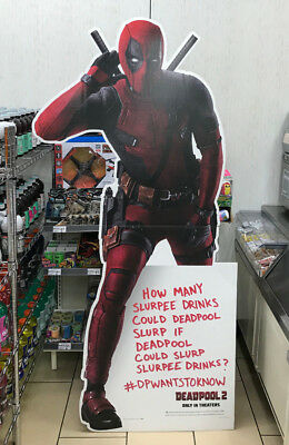 Deadpool 2 Movie 7/11 SLURPEE CARDBOARD STAND-UP DISPLAY ***OVER 5 FEET TALL***