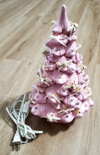 Ceramic Christmas Tree Vintage 1987 Pink 13""