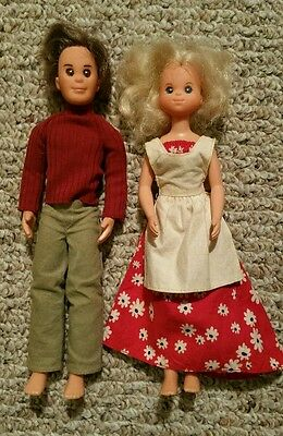 Lot (2) Mattel Sunshine Family Dolls - Mom and Dad - 1973