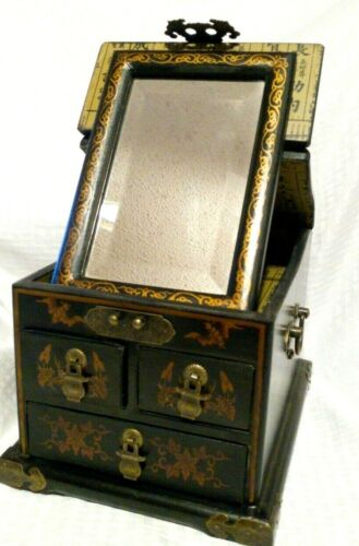 Vintage Asian Wooden Jewelry Box Black Fold out Mirror - Drawers Rare