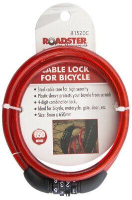 cycle bicycle lock school mountain bike bmx padlock 1M long steel spiral secure