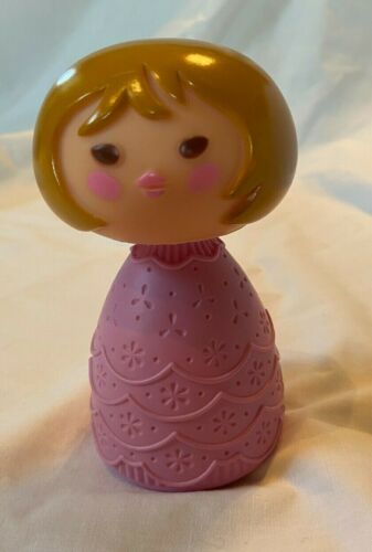 Vintage Avon Empty Bubble Bath Small World Bottle Girl Brown Hair Pink Dress