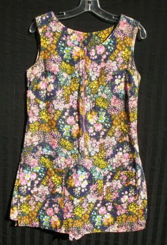 Vintage 1960s Zip Front Romper One Piece Flower Power Tennis Dress Skort size M