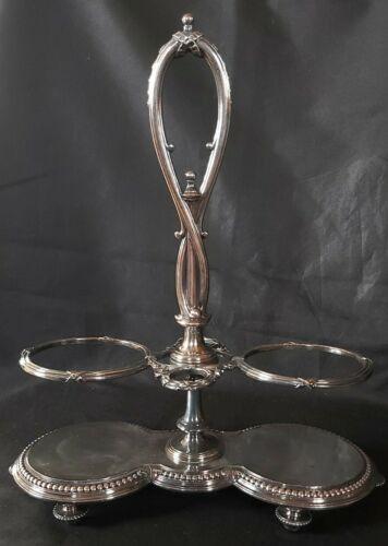 Christofle présentoir huilier vinaigrier perles ruban croisé monture ancienne