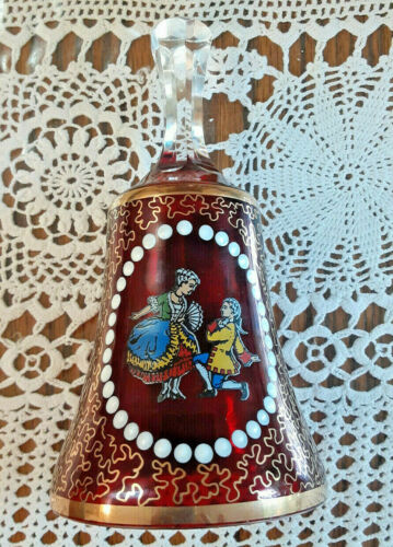 """Bohemian Ruby Glass/Crystal Bell, Hand Painted, H=6"""""""