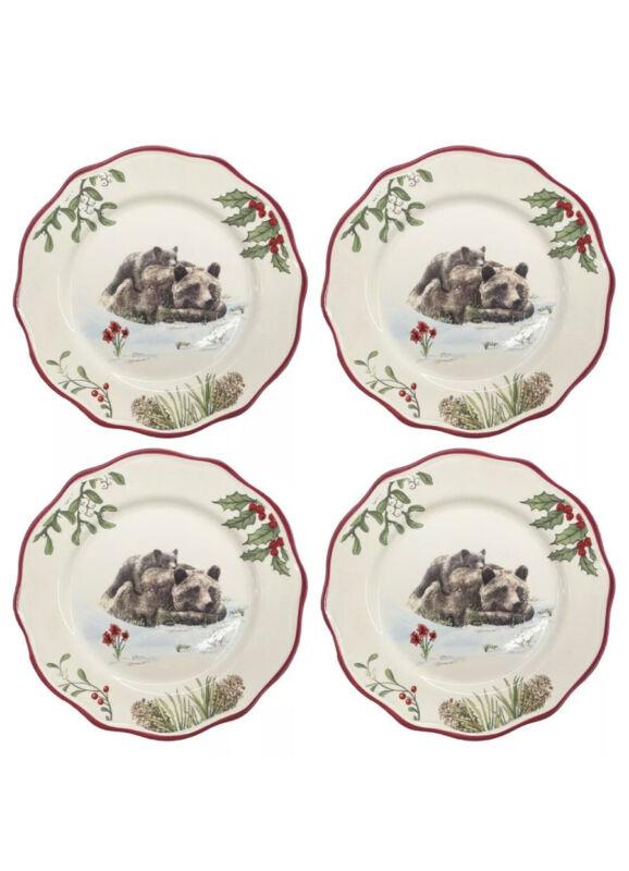 Better Homes Gardens Heritage 4 Set Salad Plates Holly Bear Cub Christmas Dinner