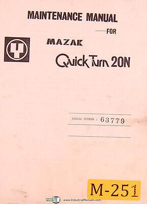 Mazak Quick Turn 20n Nc Turning Center Yamazaki Maintenance Parts Manual 1985
