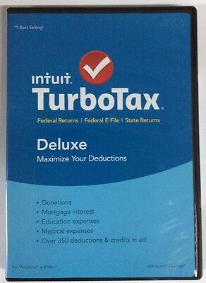 Turbotax Deluxe 2015 Federal   State Taxes   Fed Efile   New   Free Shipping