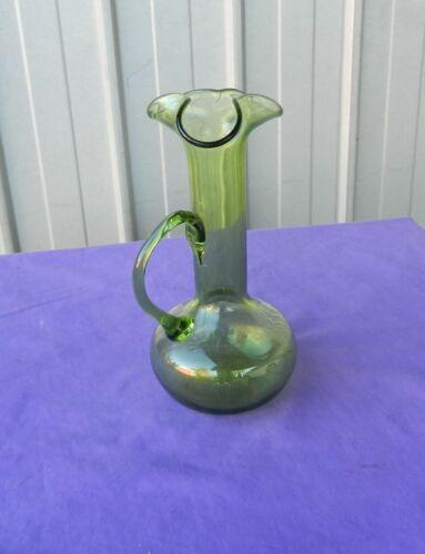 Jug Pitcher 3 way Spout Decanter Green Glass Hand Blown Vintage