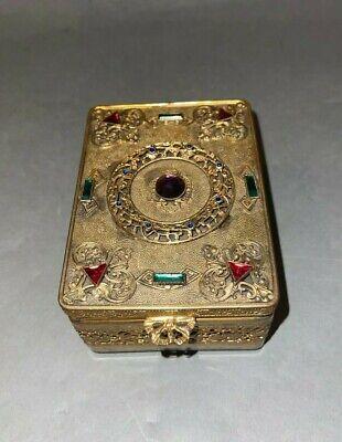 Antique E & JB Empire Art Gold Jeweled Wood Lined Cigarette Dresser Box - B