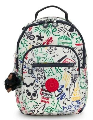Kipling SEOUL GO S Small Backpack - Doodle Play Bl