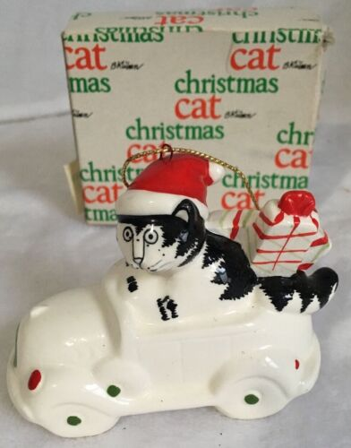 Vintage Kliban Cat Christmas 1981 Ornament Driving Car In Santa Hat With Gifts