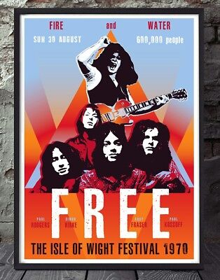 Free Isle of Wight paul kossoff rock music print poster. Specially created.