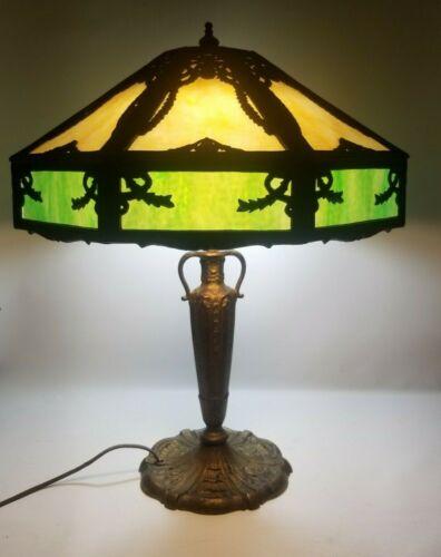 Antique 16 Panel 2 Color Slag Glass Table Lamp! Amazing!