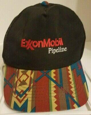 Vintage ExxonMobil Pipeline Embroidered Aztec Snapback Cap Mesh Back RARE