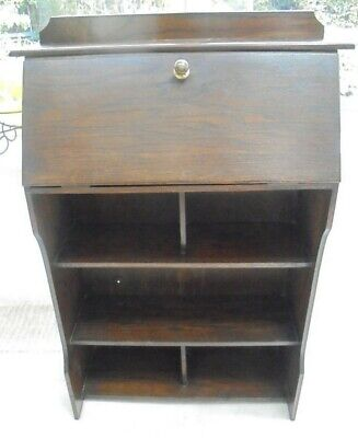 Vintage wooden bureau bookcase, 1920s, drop down desk, book shelves