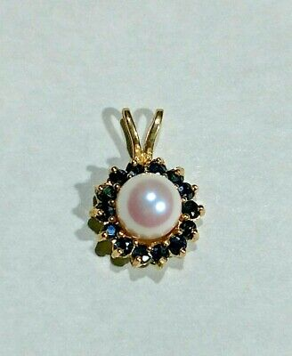 14kt Gold Sapphire Pearl Pendant Solid Cast Setting 14 Sapphires Gorgeous ! Pendant 14kt Yellow Gold Setting
