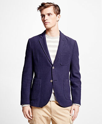 EXC COND BROOKS BROTHERS  Men's Blue Striped Knit Blazer red fleece size XL
