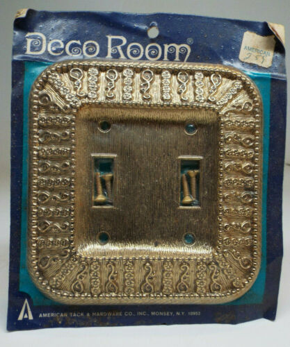 Vintage American Tack & Hardware Double Light Switch Cover - Antique Gold -MINT