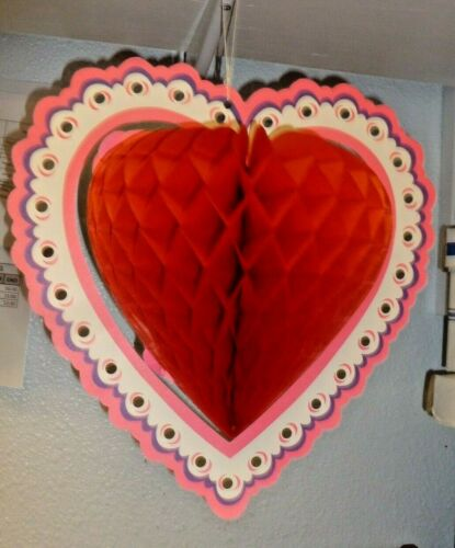 2 Vintage Large PAPER HONEYCOMB HEART SHAPED Decoartions Beistle Co. Valentine