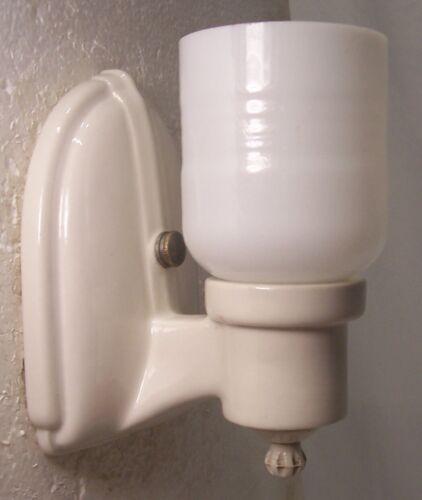 Antique Porcelain Sconce Light Fixture Vtg Art Shade Bathroom Rewired USA #P62
