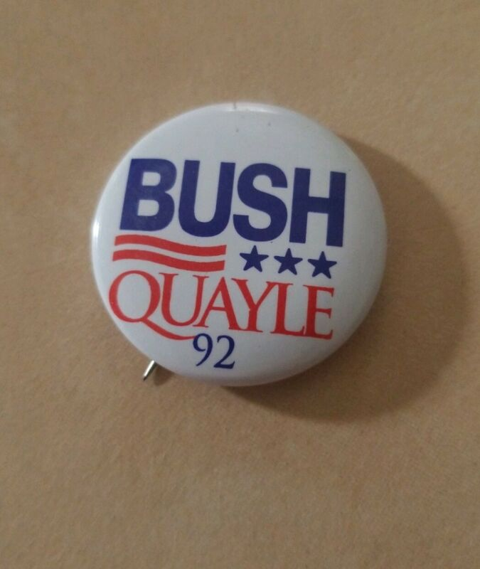 1992 GEORGE H. W. BUSH QUAYLE Campaign Pin Pinback Button Political Presidential