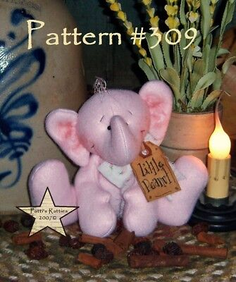 Primitive Patti's Ratties Raggedy Pink Elephant Ornie Doll Paper Pattern #309