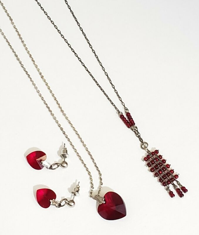 Vintage Art Deco Style Garnet Glass Crystal Necklaces One Earrings 1 Lavaliere