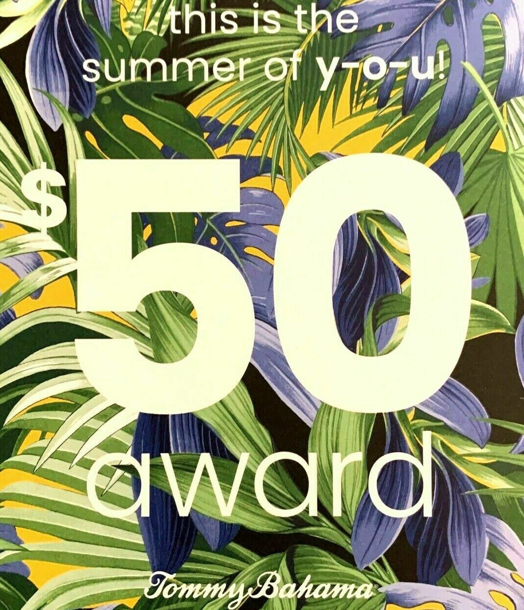Tommy Bahama Gift Card - 50 Off 100 Purchase Summer Award Promotional Coupon - $8.99