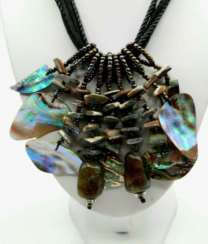 "Abalone Shell and Laboradorite Gemstone Statement Necklace 17"""