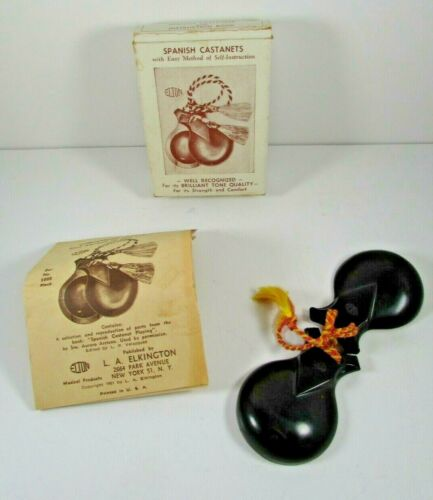Vintage Spanish Castanets Black W/Strings #500/B W/Instructions By Elton