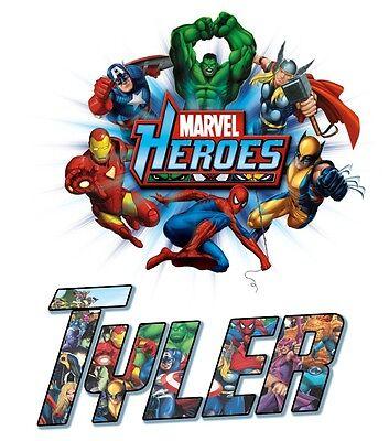 Marvel Super Hero Tshirt Personalize Birthday custom Iron man, spiderman, hulk](Super Hero Custom)