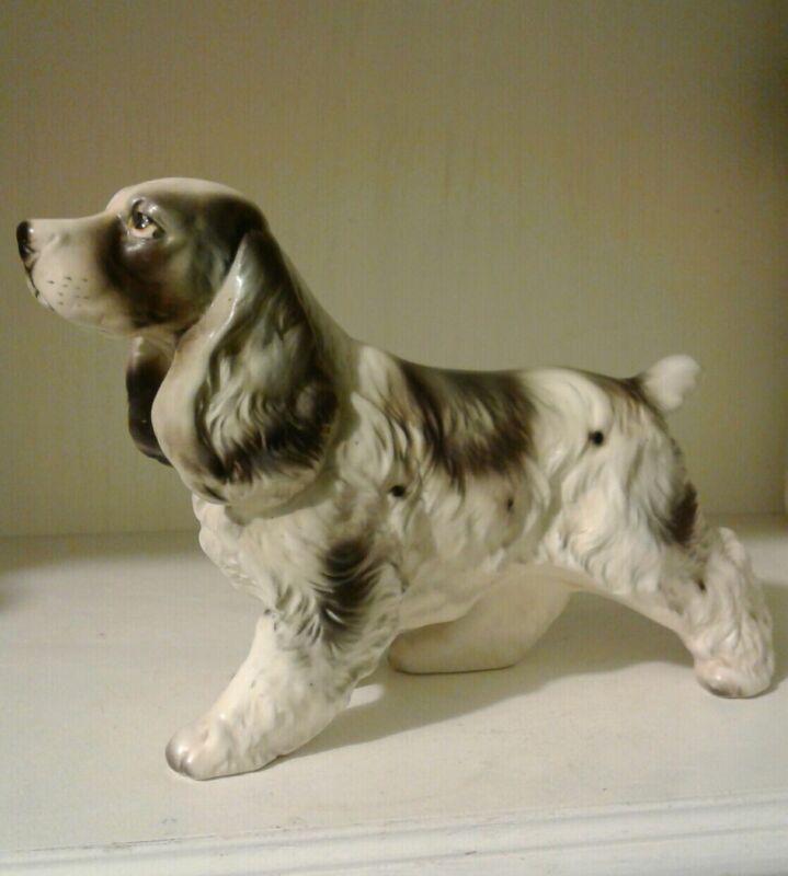 ❤VINTAGE ENGLISH SPRINGER SPANIEL FIGURINE HUNTING DOG BLACK AND WHITE EUC!