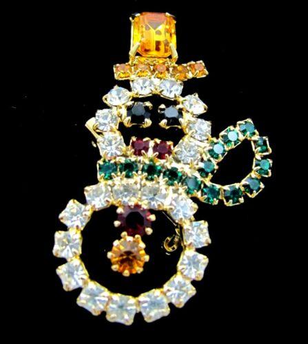 Vintage Prong Set Rhinestone Snowman Christmas Brooch Pin