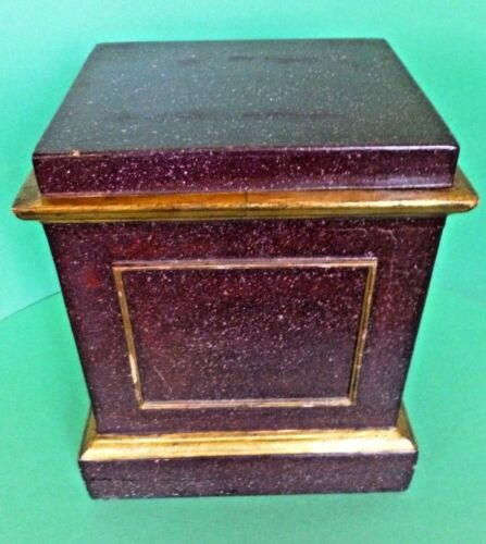 Antique Italian Faux Porphyry Display Stand Painted Marble Wooden Base C. 1890