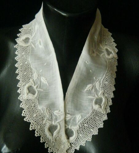 Old Vtg Collar combo Irish lace 3d raise embroidery voile mesh hand done Europe